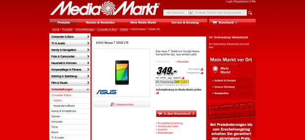 Vorbestellseite für das neue Nexus 7 mit LTE-Modem mit 32 GByte bei Media Markt (Bild: Screenshot: Golem.de)