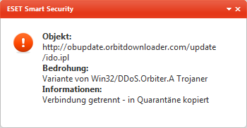 So warnt ein Eset-Scanner, wenn die Schadmodule nachgeladen werden. (Screenshot: Golem.de)