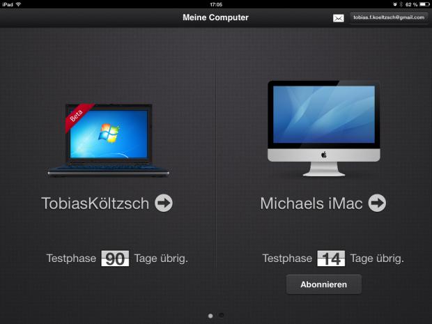 Der Auswahlbildschirm von Parallel Access auf dem iPad (Screenshot: Golem.de)