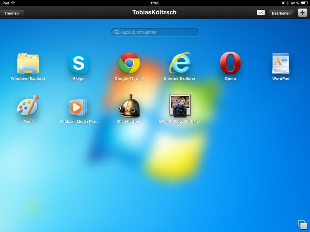 Nachdem das iPad mit dem PC verbunden ist, startet der App Launcher. (Screenshot: Golem.de)