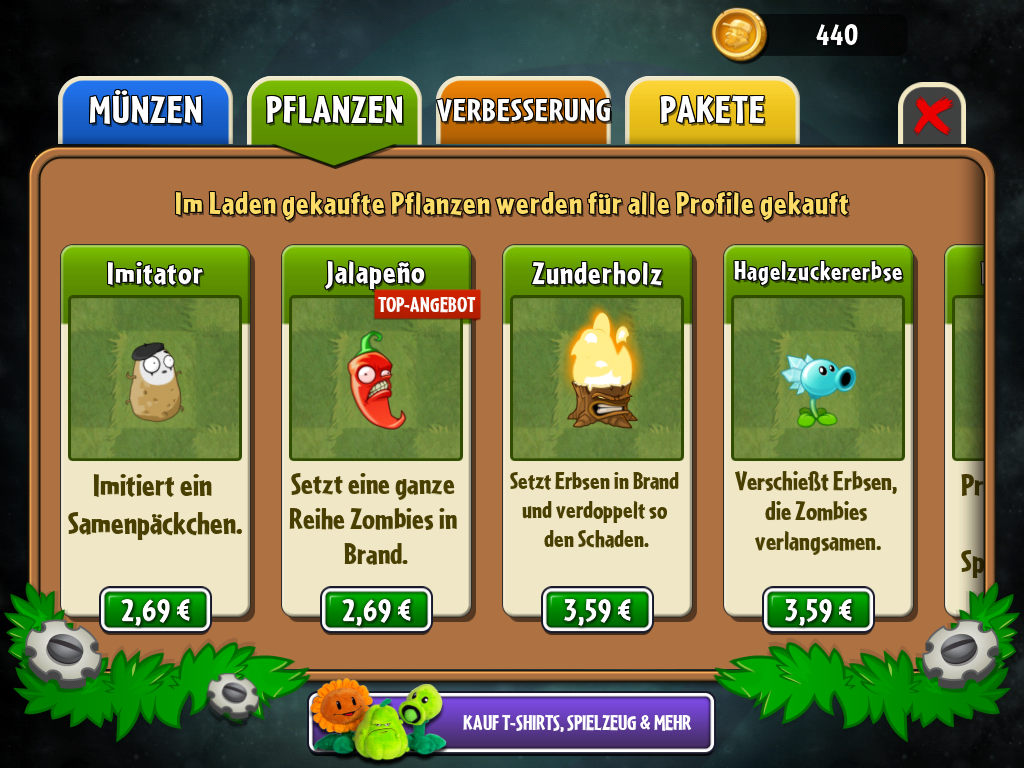 Plants vs. Zombies 2 angespielt: Erbsengemüse Reloaded - Die sechs Kaufpflanzen kosten derzeit zusammen fast 18 Euro.