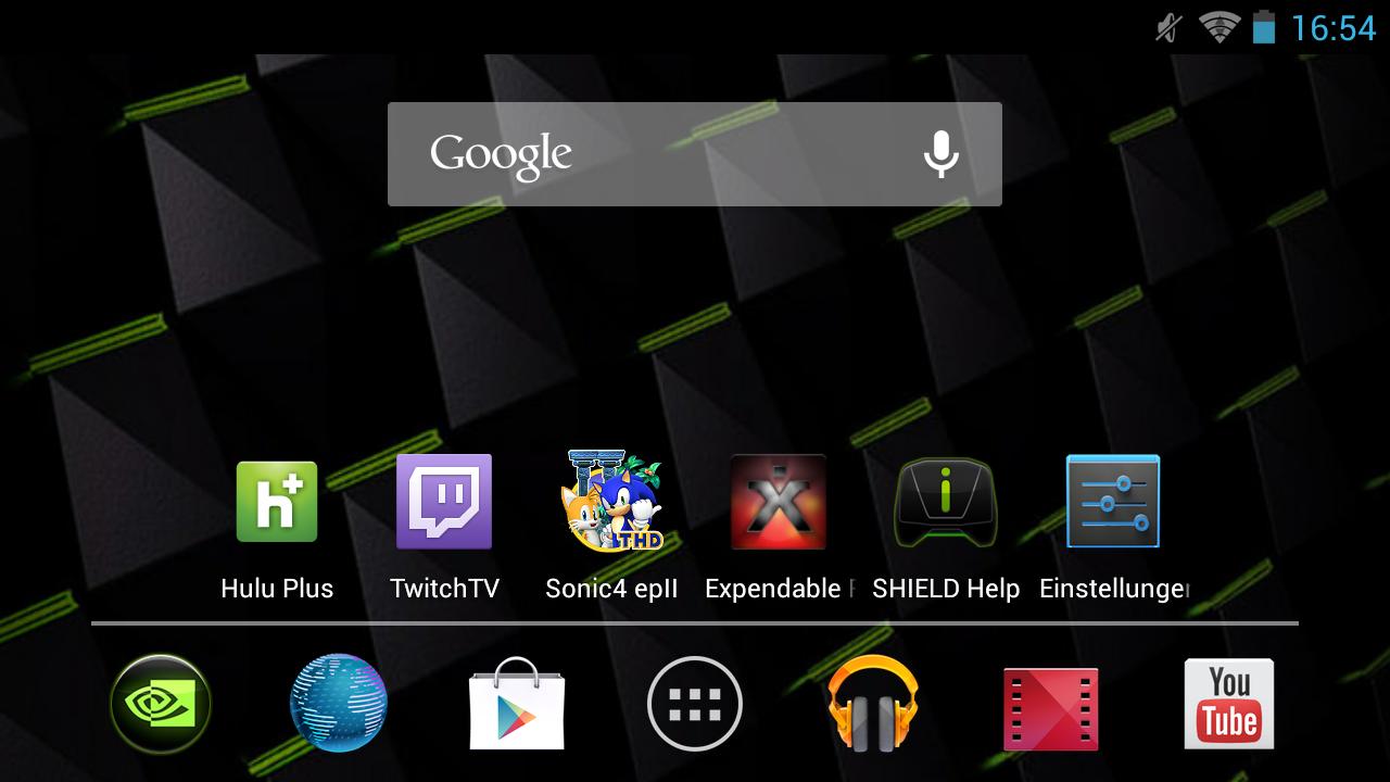 Nvidia Shield im Test: Android-Gameboy auf Steroiden - Der leicht angepasste Homescreen von Android 4.2.1 (Screenshot: Golem.de)