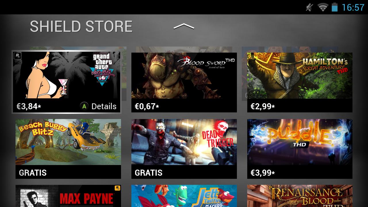 Nvidia Shield im Test: Android-Gameboy auf Steroiden - Im Shield-Store finden sich auf den Tegra 4 sowie auf die Controller-Steuerung angepasste Titel. (Screenshot: Golem.de)