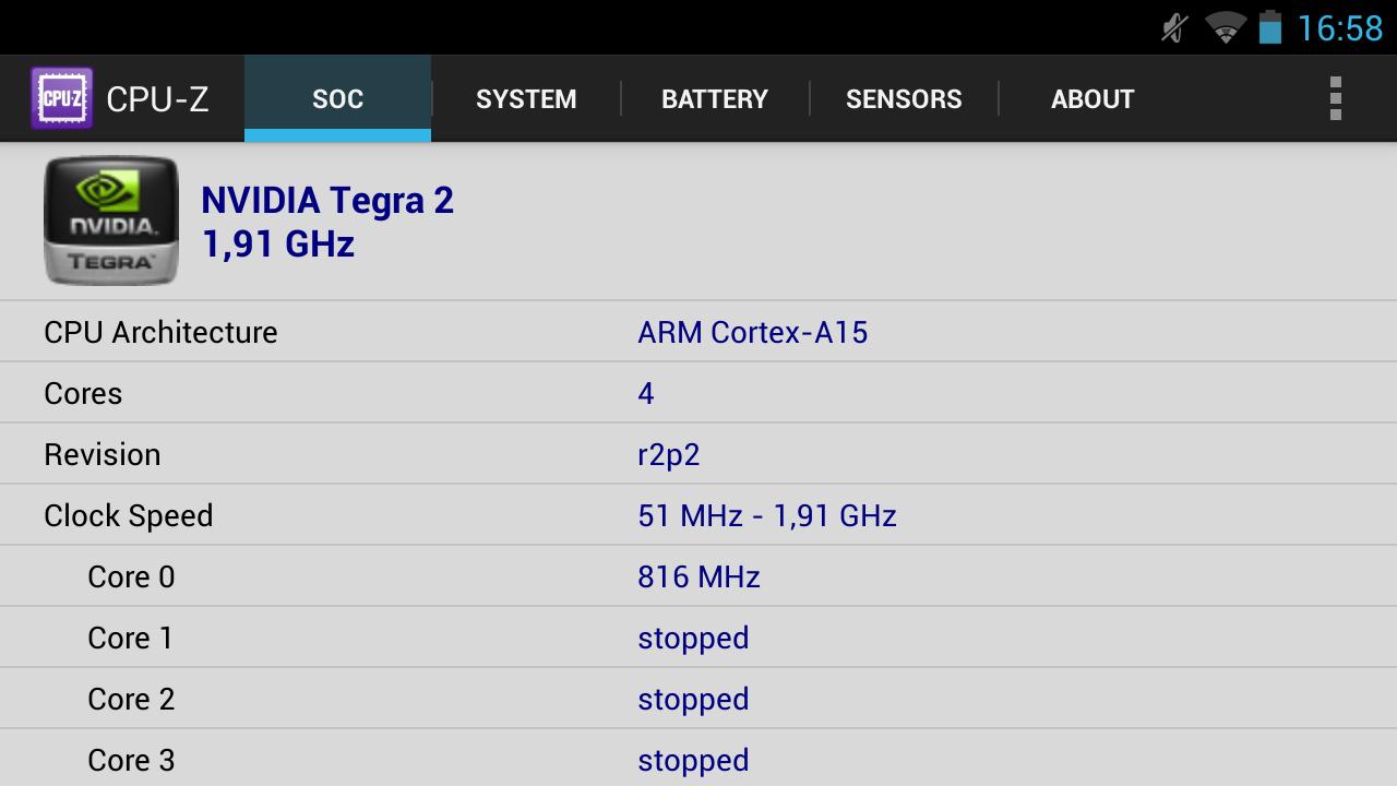 Nvidia Shield im Test: Android-Gameboy auf Steroiden - CPU-Z liefert Informationen zum SoC, ... (Screenshot: Golem.de)