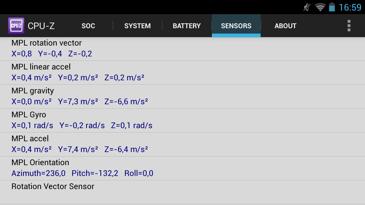 Nvidia Shield im Test: Android-Gameboy auf Steroiden - ... und den Sensoren. (Screenshot: Golem.de)