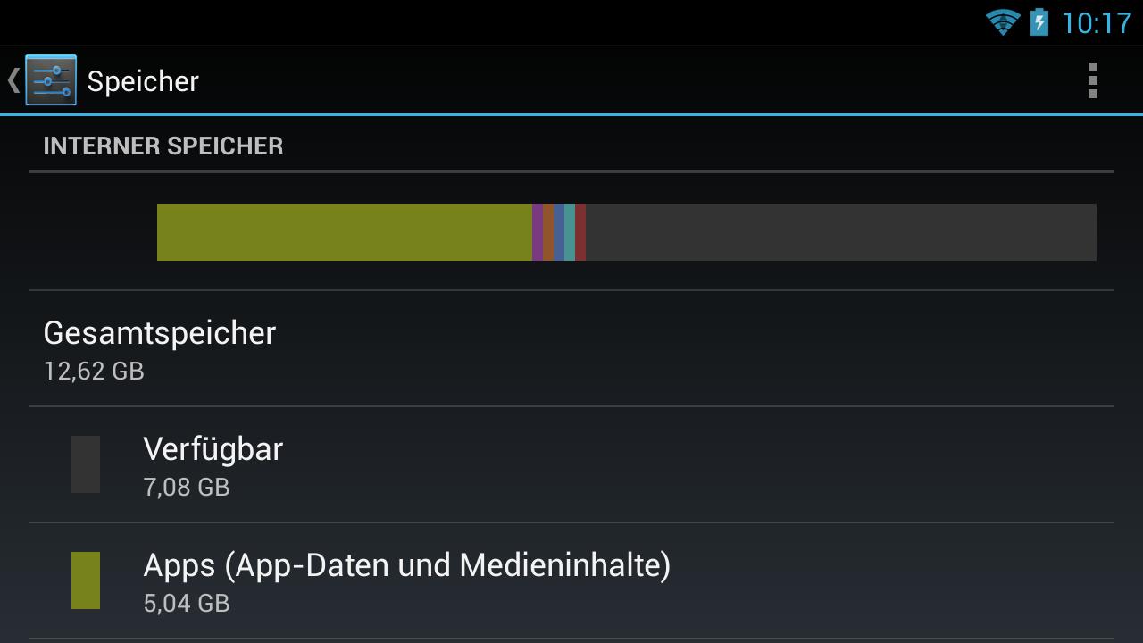 Nvidia Shield im Test: Android-Gameboy auf Steroiden - Der integrierte Speicher fasst 12 GByte. (Screenshot: Golem.de)