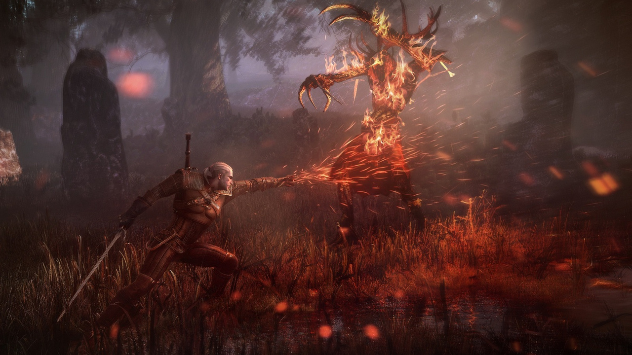 The Witcher 3: Des Hexers haarige Entwicklung - Mit Feuermagie zwingt der Hexer den Leshen in die Knie,... (Screenshot: CD Projekt Red)