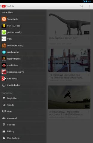 Youtube-App für Android (Quelle: Google)