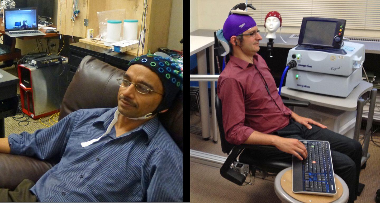 Brain-To-Brain Interface: Mensch steuert anderen mit Gedanken fern - Beim Spiel: Rao (links) denkt, Stocco feuert. (Bild: University of Washington)