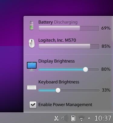 Das Batterie-Widget zeigt die Akkuladung von drahtlosen Peripheriegeräten an. (Bild: KDE)