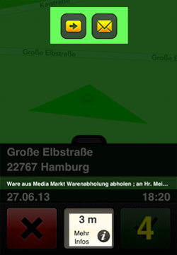 Warenlieferung in der Mytaxi-App für Taxifahrer (Bild: Intelligent Apps)
