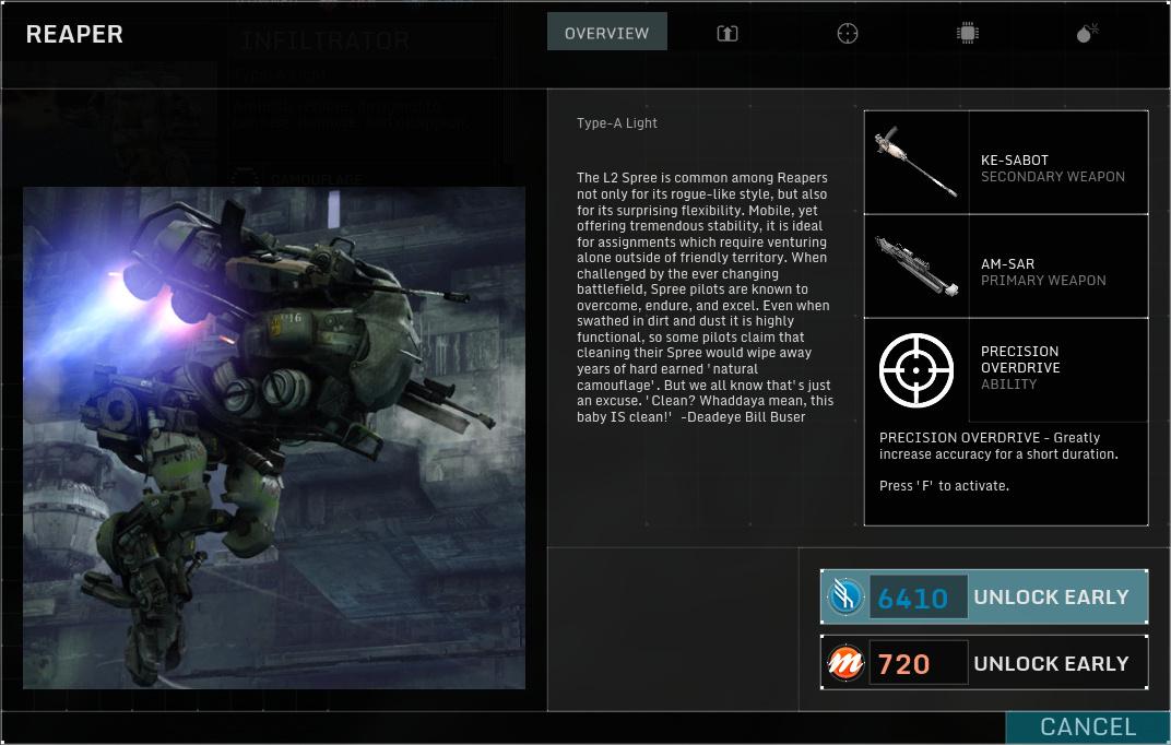 Betatest Hawken: Der F2P-UE3-Indie-Mech-Shooter - Der Reaper, ein leichter Mech (Screenshot: Marc Sauter/Golem.de)