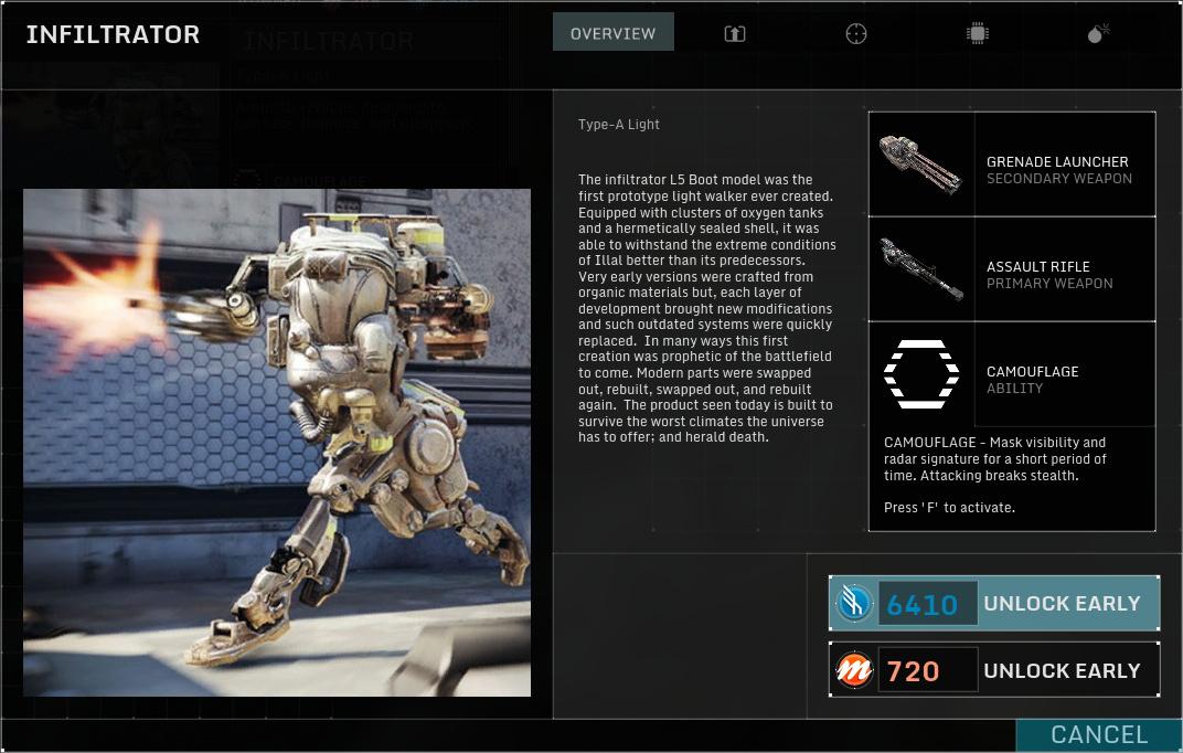 Betatest Hawken: Der F2P-UE3-Indie-Mech-Shooter - Der Infiltrator, ein leichter Mech (Screenshot: Marc Sauter/Golem.de)