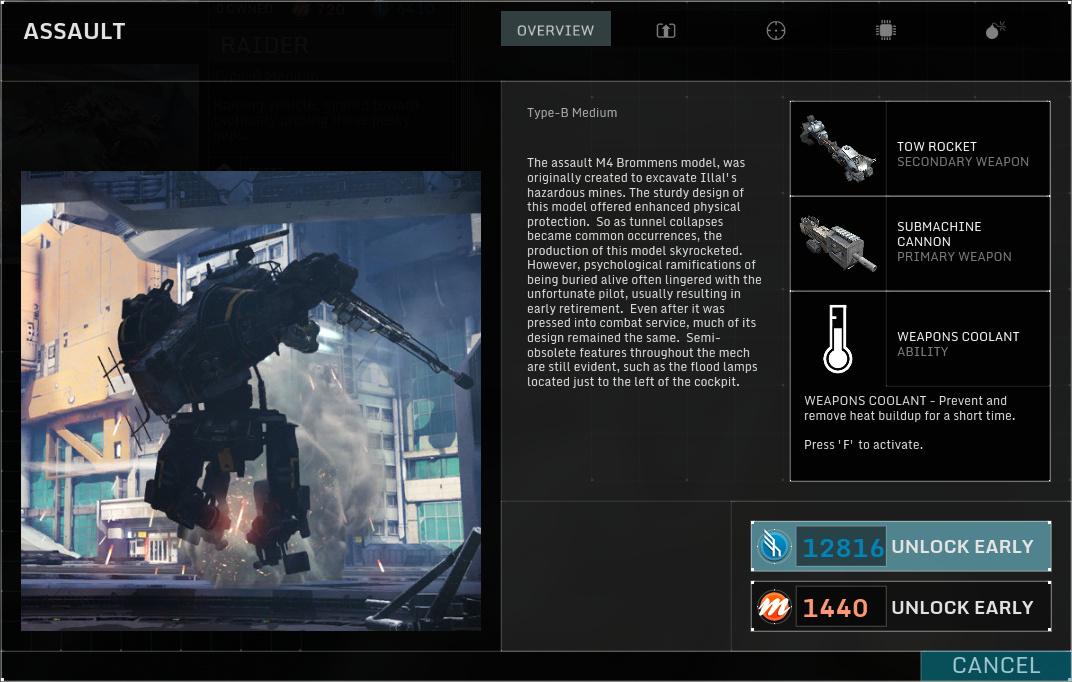 Betatest Hawken: Der F2P-UE3-Indie-Mech-Shooter - Der Assault, ein mittelschwerer Mech (Screenshot: Marc Sauter/Golem.de)