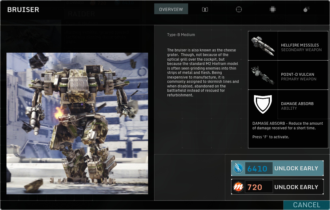 Betatest Hawken: Der F2P-UE3-Indie-Mech-Shooter - Der Bruiser, ein mittelschwerer Mech (Screenshot: Marc Sauter/Golem.de)