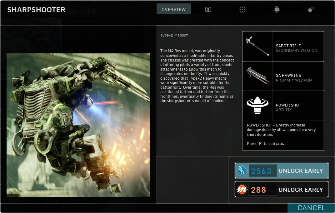 Betatest Hawken: Der F2P-UE3-Indie-Mech-Shooter - Der Sharpshooter, ein mittelschwerer Mech (Screenshot: Marc Sauter/Golem.de)