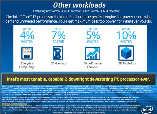 Auch Intel sagt: minimaler Zuwachs bei der Leistung, ... (Folie: Intel)