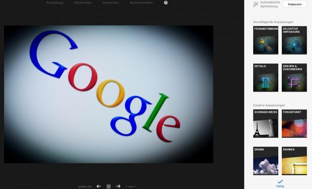 Google Plus: Bildbearbeitung im Browser (Bild: Andreas Donath)
