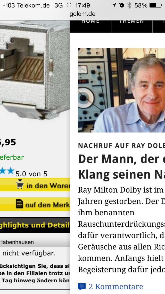 iOS 7 im Test: Bunte Farben und kleine Kompatibilitätsprobleme - Per Wischgeste kann die zuvor besuchte Webseite aufgerufen werden. (Screenshot: Golem.de)