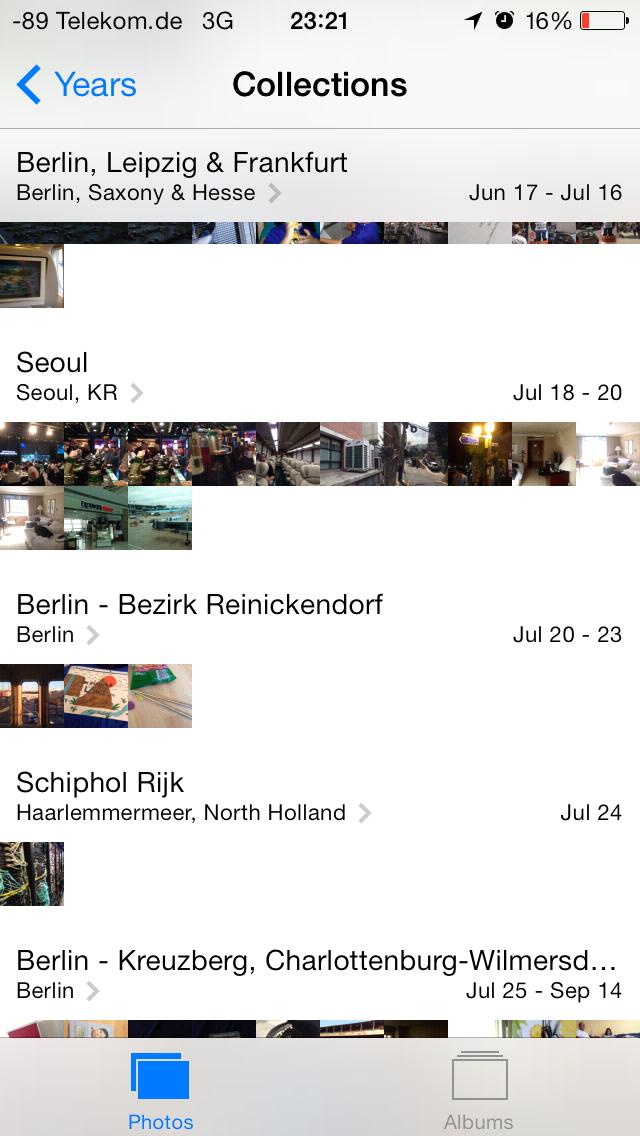 iOS 7 im Test: Bunte Farben und kleine Kompatibilitätsprobleme - ...und Sammlungen (Screenshot: Golem.de)