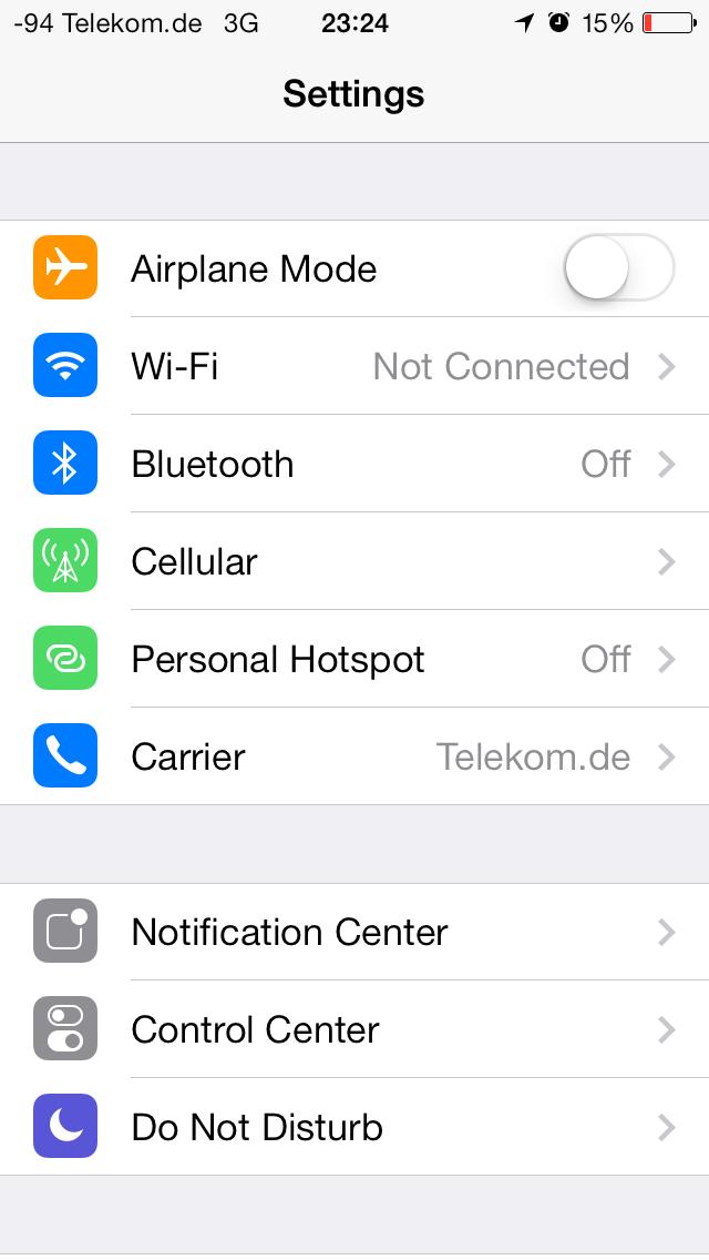 iOS 7 im Test: Bunte Farben und kleine Kompatibilitätsprobleme - Die Einstellungen des Betriebssystems... (Screenshot: Golem.de)