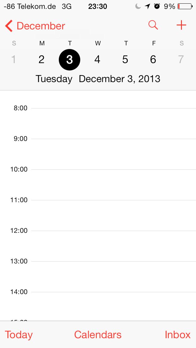 iOS 7 im Test: Bunte Farben und kleine Kompatibilitätsprobleme - Kalender in der Tages-, ...(Screenshot: Golem.de)