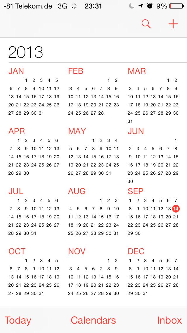 iOS 7 im Test: Bunte Farben und kleine Kompatibilitätsprobleme - ... und Jahresansicht (Screenshot: Golem.de)