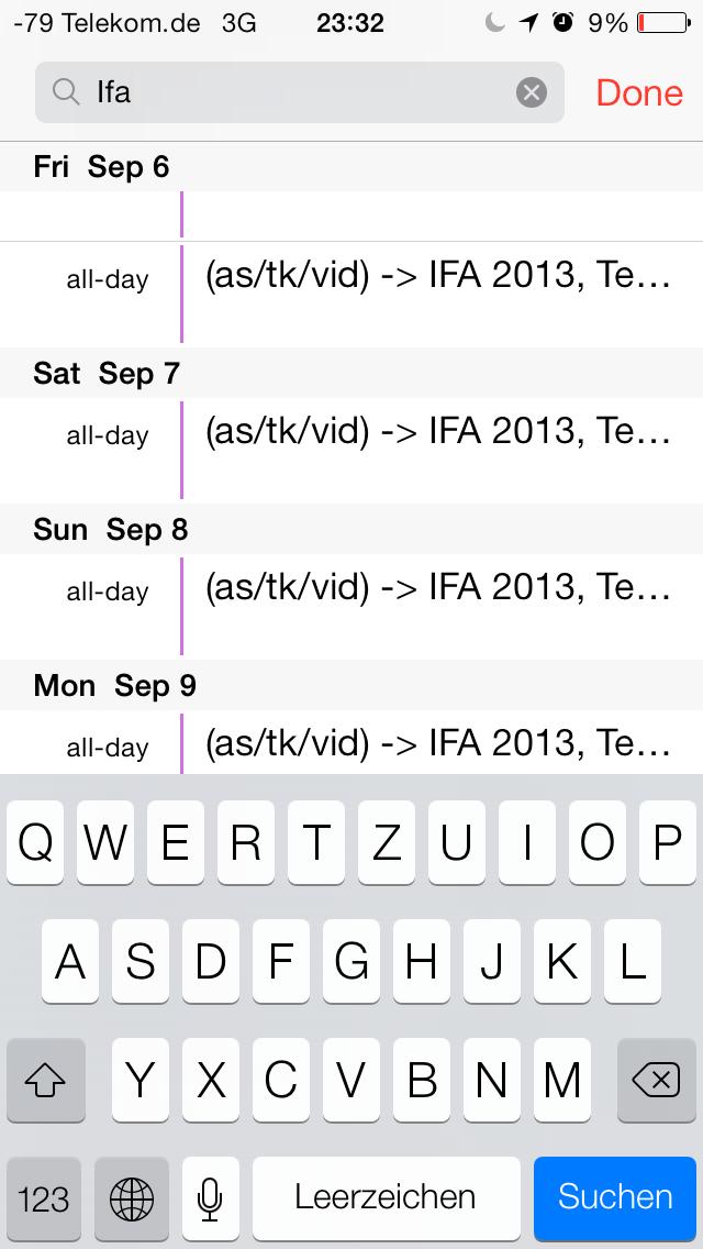 iOS 7 im Test: Bunte Farben und kleine Kompatibilitätsprobleme - Suche im Kalender (Screenshot: Golem.de)