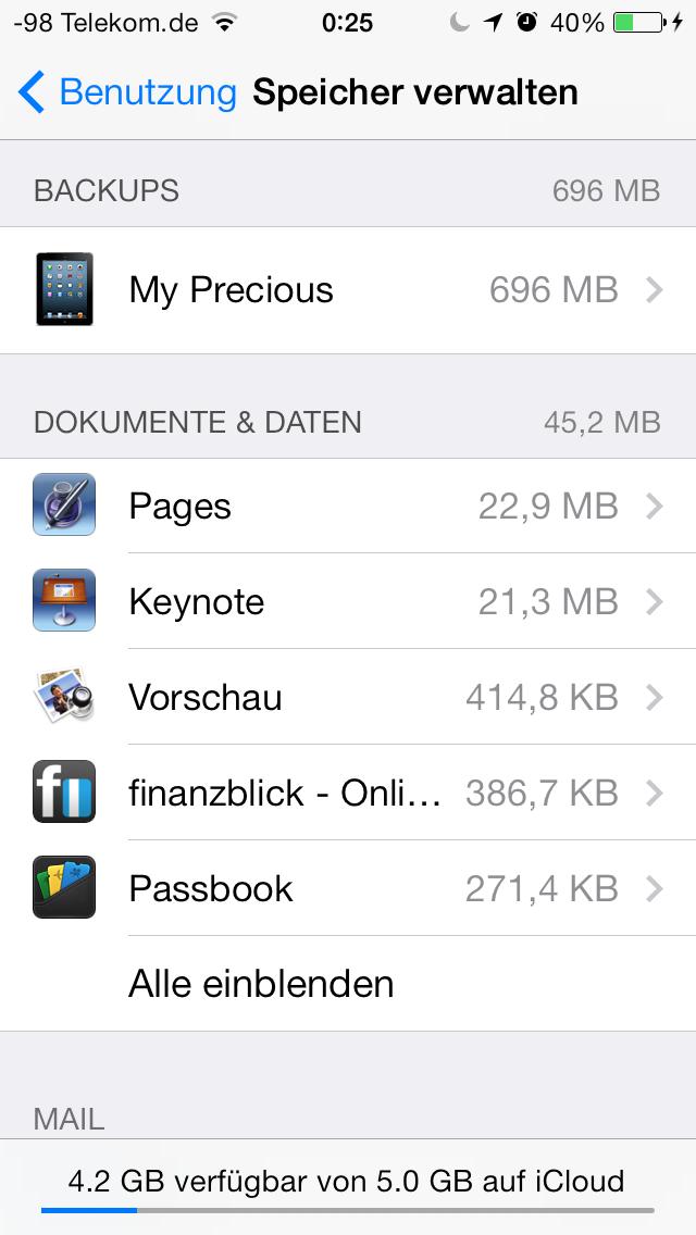iOS 7 im Test: Bunte Farben und kleine Kompatibilitätsprobleme - iCloud-Verwaltung (Screenshot: Golem.de)