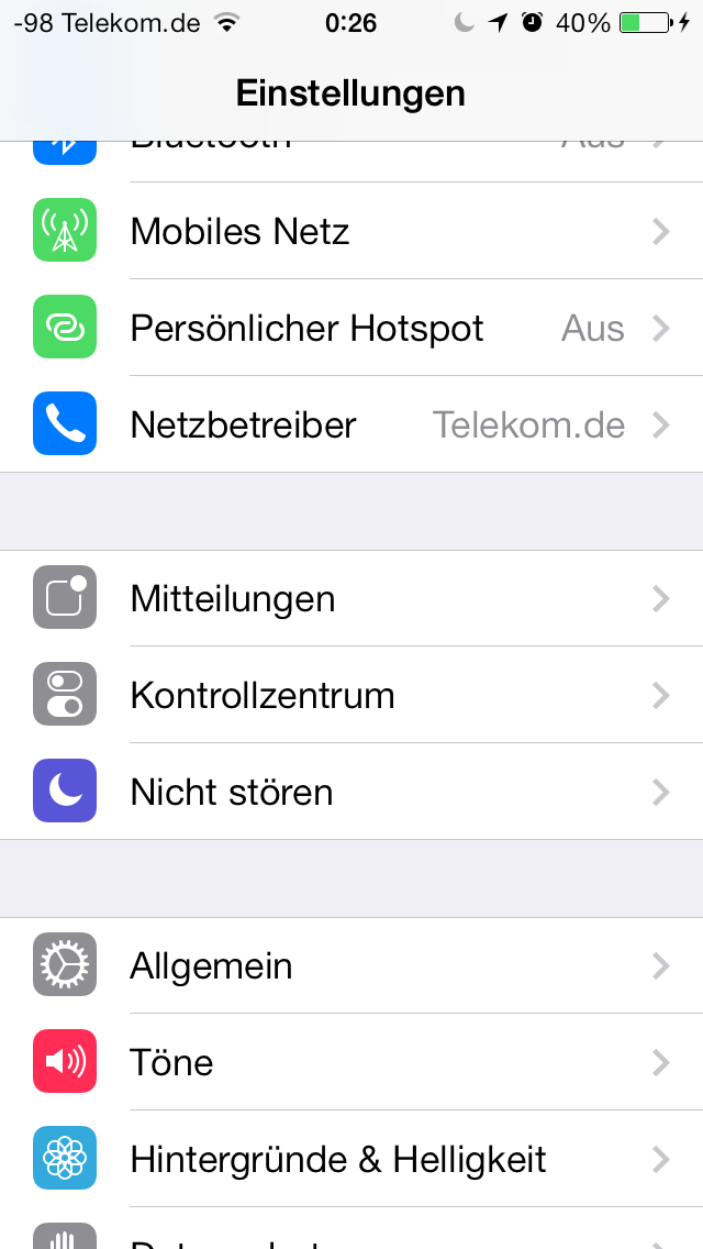 iOS 7 im Test: Bunte Farben und kleine Kompatibilitätsprobleme - Einstellungen von iOS 7 (Screenshot: Golem.de)