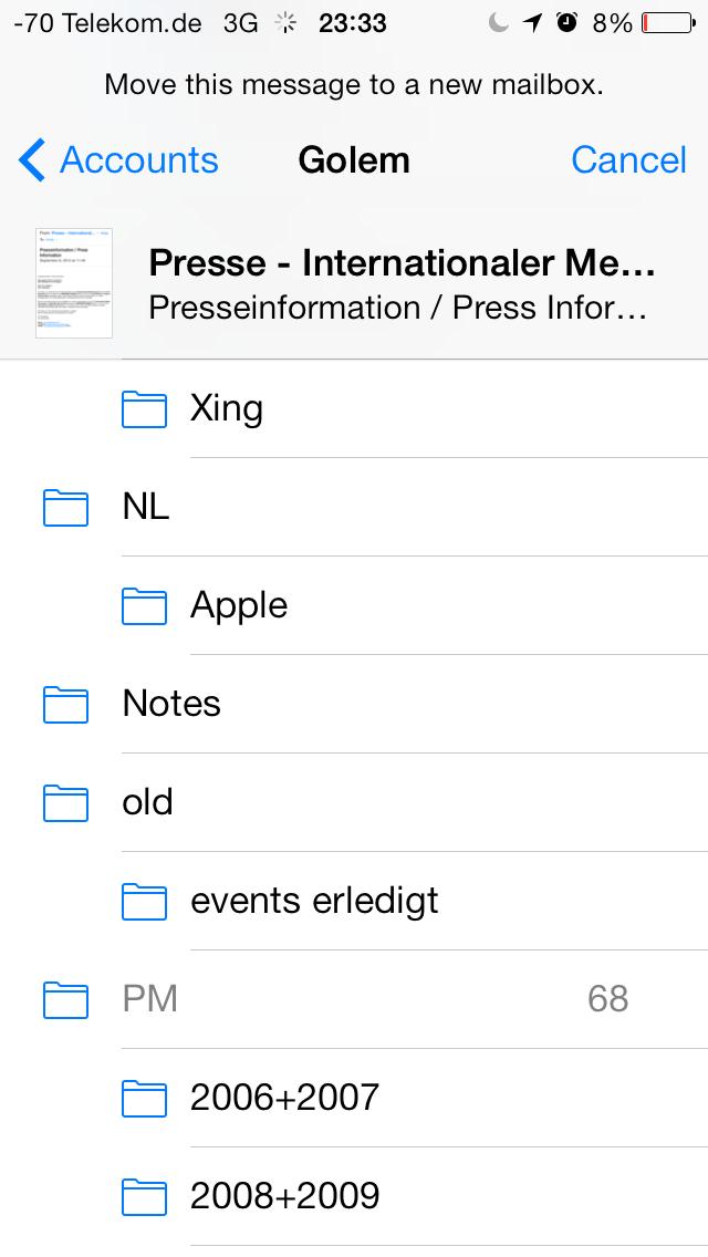 iOS 7 im Test: Bunte Farben und kleine Kompatibilitätsprobleme - Verschieben von E-Mails mit einer kleinen Vorschau oben links (Screenshot: Golem.de)