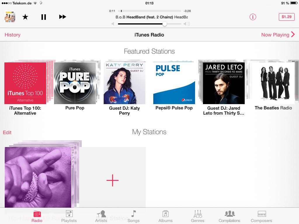iOS 7 im Test: Bunte Farben und kleine Kompatibilitätsprobleme - Radiofunktion von iTunes mit Hilfe eines US-Accounts (Screenshot: Golem.de)