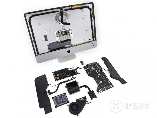 Teardown des 21,5-Zoll-iMacs mit verlöteter Haswell-CPU (Bild: iFixit)
