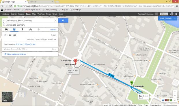 Ab durch die Mitte: Auf Google Maps verlässt man sich lieber nicht zum Finden der exakten Bushaltestelle. (Screenshot: Golem.de)