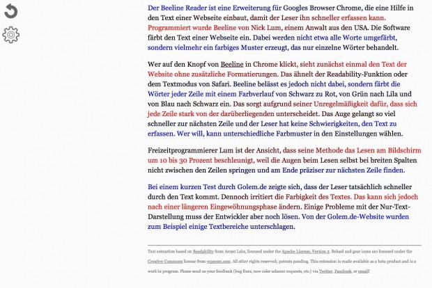 Beeline Reader auf Golem.de (Bild: Golem.de)