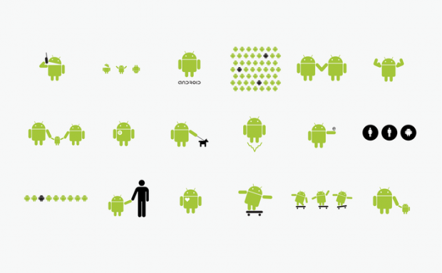 Das Android-Logo in verschiedenen Ausführungen (Bild: Irina Blok)