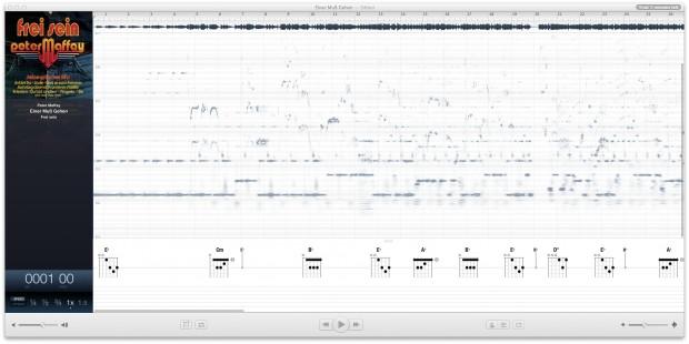 Das Hauptdiagramm eines Musikstückes in Capo 3 (Screenshot: Golem.de)