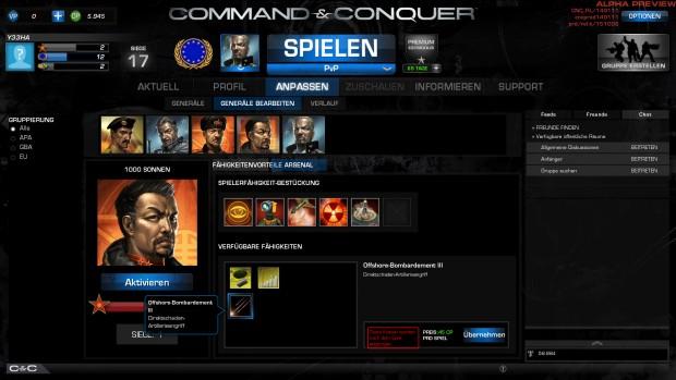 Im Arsenal wird der Skilltree eines jeden Generals angepasst. (Screenshot: Marc Sauter/Golem.de)
