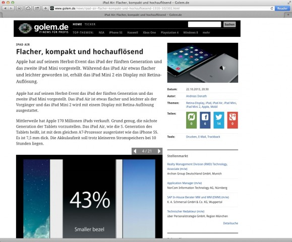 Safari 7 (Screenshot: Golem.de)