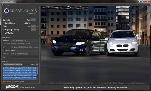 Der Grafiktest des Cinebench R15 nutzt OpenGL. (Screenshot: Marc Sauter/Golem.de)