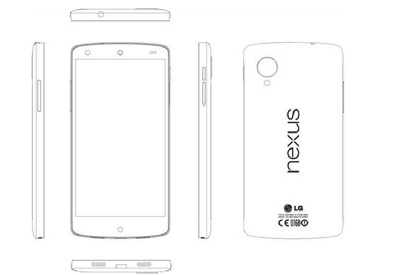 Google-Smartphone: Nexus 5 soll mit LTE und Bildstabilisator kommen - Das neue Nexus 5 in einer schematischen Zeichnung (Bild: LG/Screenshot: Golem.de)