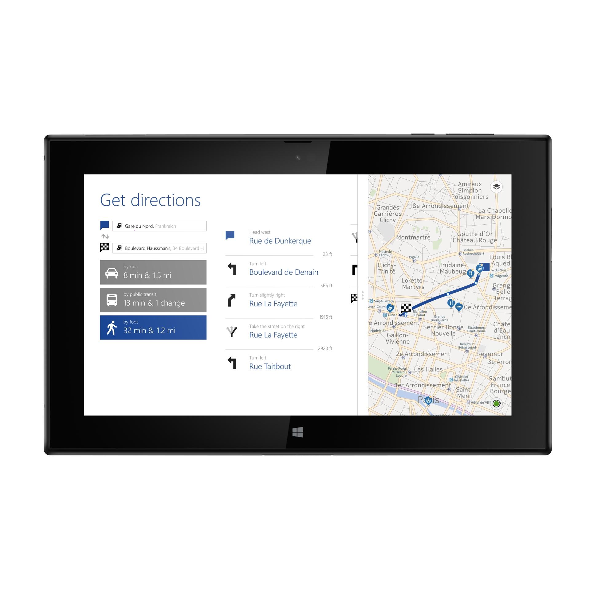 Lumia 2520: Nokias erstes Tablet kommt mit Snapdragon 800 und LTE - Auch bereits bekannte Apps wie Here Maps findet der Nutzer auf dem Lumia 2520. (Bild: Nokia)