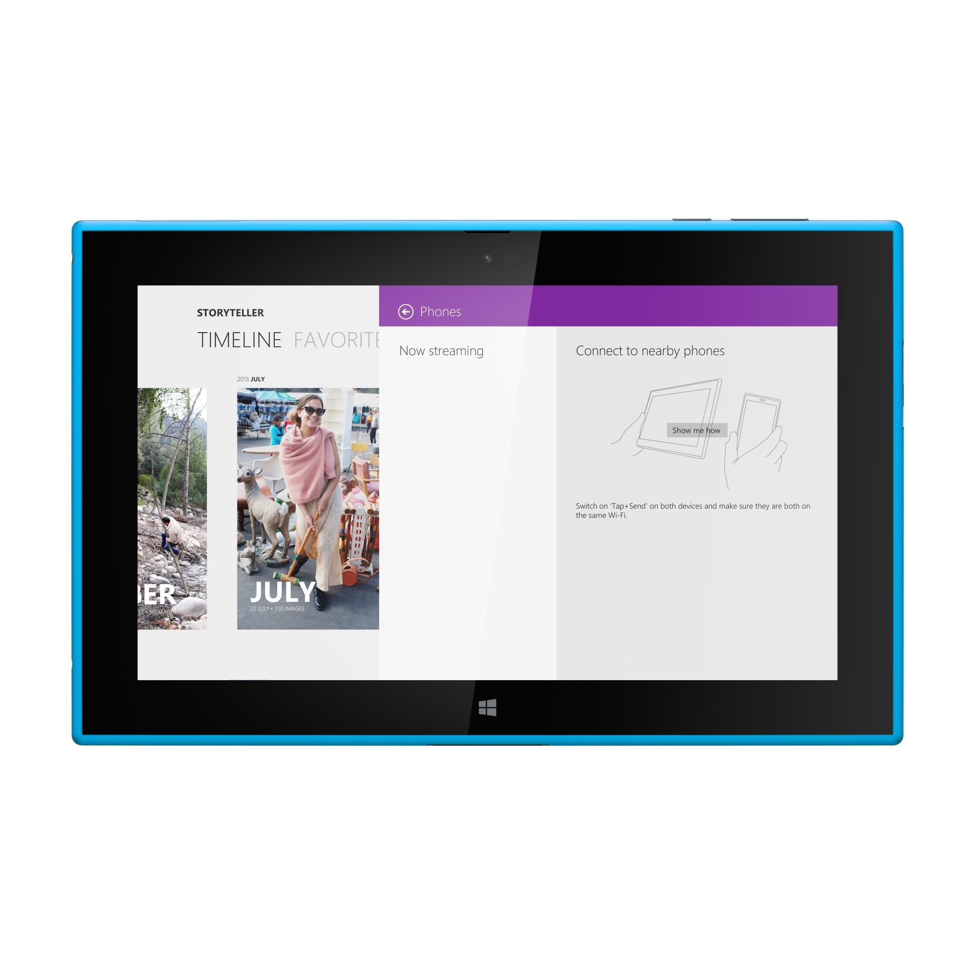 Lumia 2520: Nokias erstes Tablet kommt mit Snapdragon 800 und LTE - Nokia installiert auch hier seine neue App Storyteller. (Bild: Nokia)