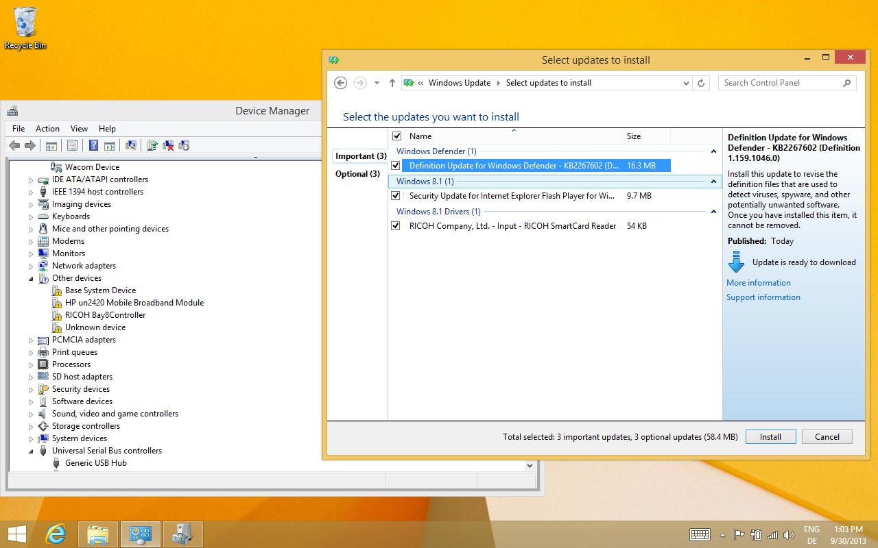 Windows 8.1 im Test: Nicht mehr die Suche suchen - Erstinstallation auf einem Elitebook 2740p. Die meisten Treiber bringt das Betriebssystem mit,... (Screenshot: Golem.de)