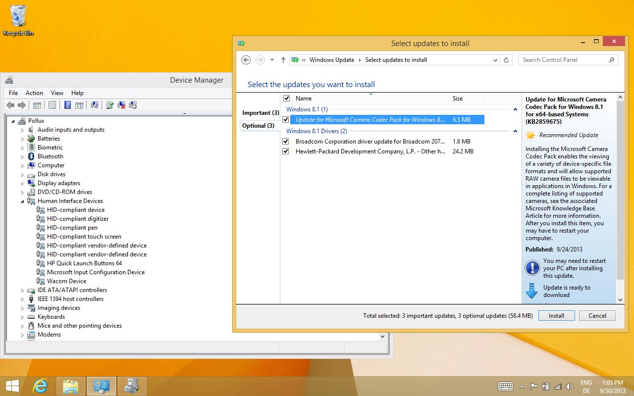 Windows 8.1 im Test: Nicht mehr die Suche suchen - ...der Rest kommt mit dem ersten Windows Update und installiert sich automatisch. (Screenshot: Golem.de)