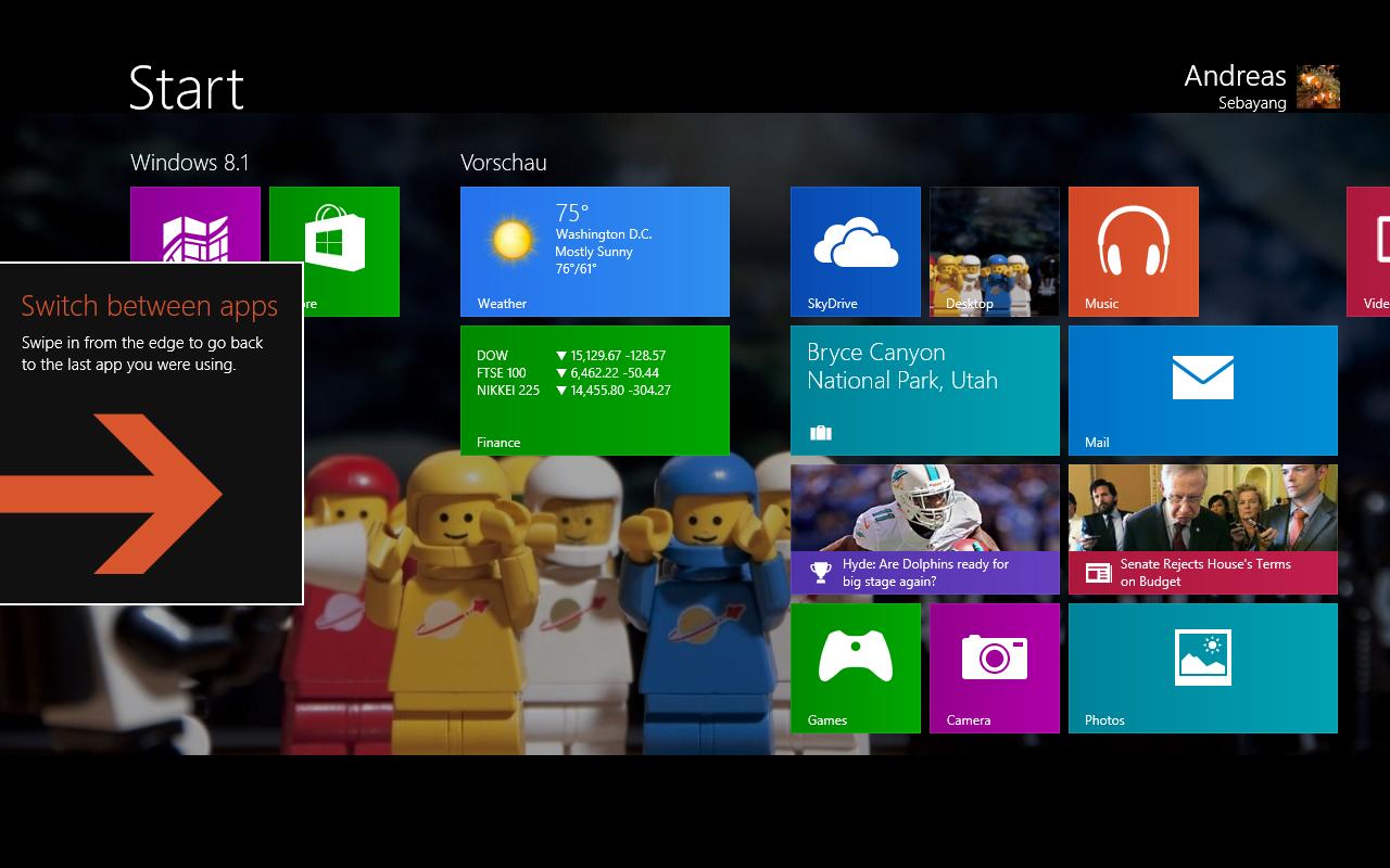 Windows 8.1 im Test: Nicht mehr die Suche suchen - Startbildschirm mit Hilfestellung (Screenshot: Golem.de)