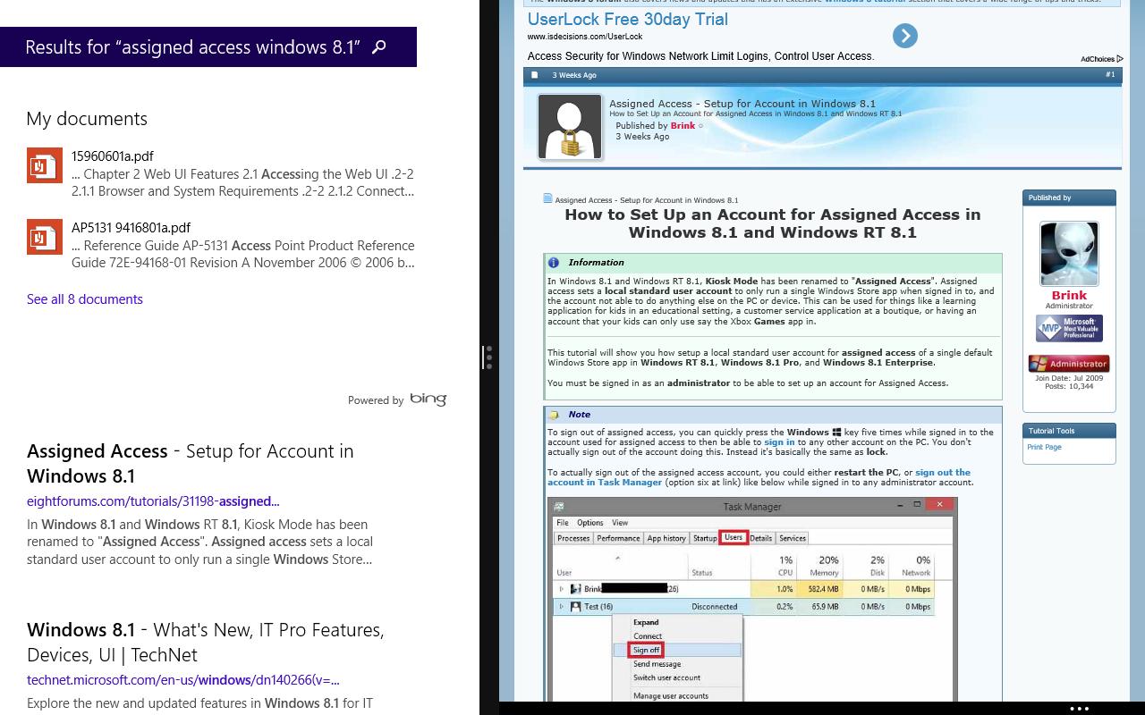 Windows 8.1 im Test: Nicht mehr die Suche suchen - Die Modern-UI-Suche arbeitet jetzt global und nutzt Informationen aus dem Internet. Da wir nur Standardrechte haben, wird die Information, dass es einen Assigned-Access-Mode gibt, dem Anwender nicht dargestellt. (Screenshot: Golem.de)