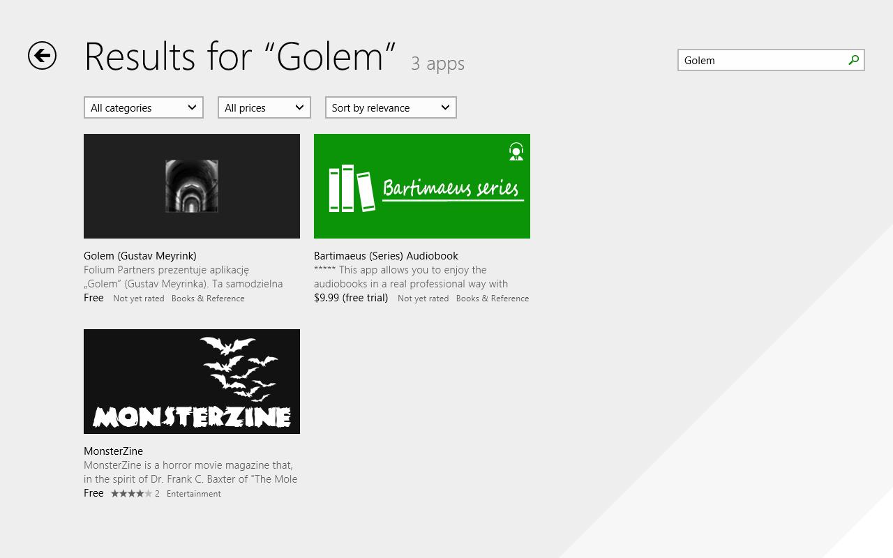 Windows 8.1 im Test: Nicht mehr die Suche suchen - Im Windows-Store unserer RTM-Version fehlten die drei Punkte noch. (Screenshot: Golem.de)