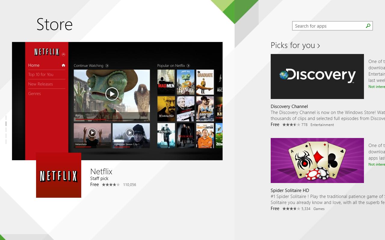 Windows 8.1 im Test: Nicht mehr die Suche suchen - Der Shop wurde mit dem Redesign deutlich verbessert. Er sieht jetzt nicht mehr so lieblos wie das Windows-8-Pendant aus. (Screenshot: Golem.de)