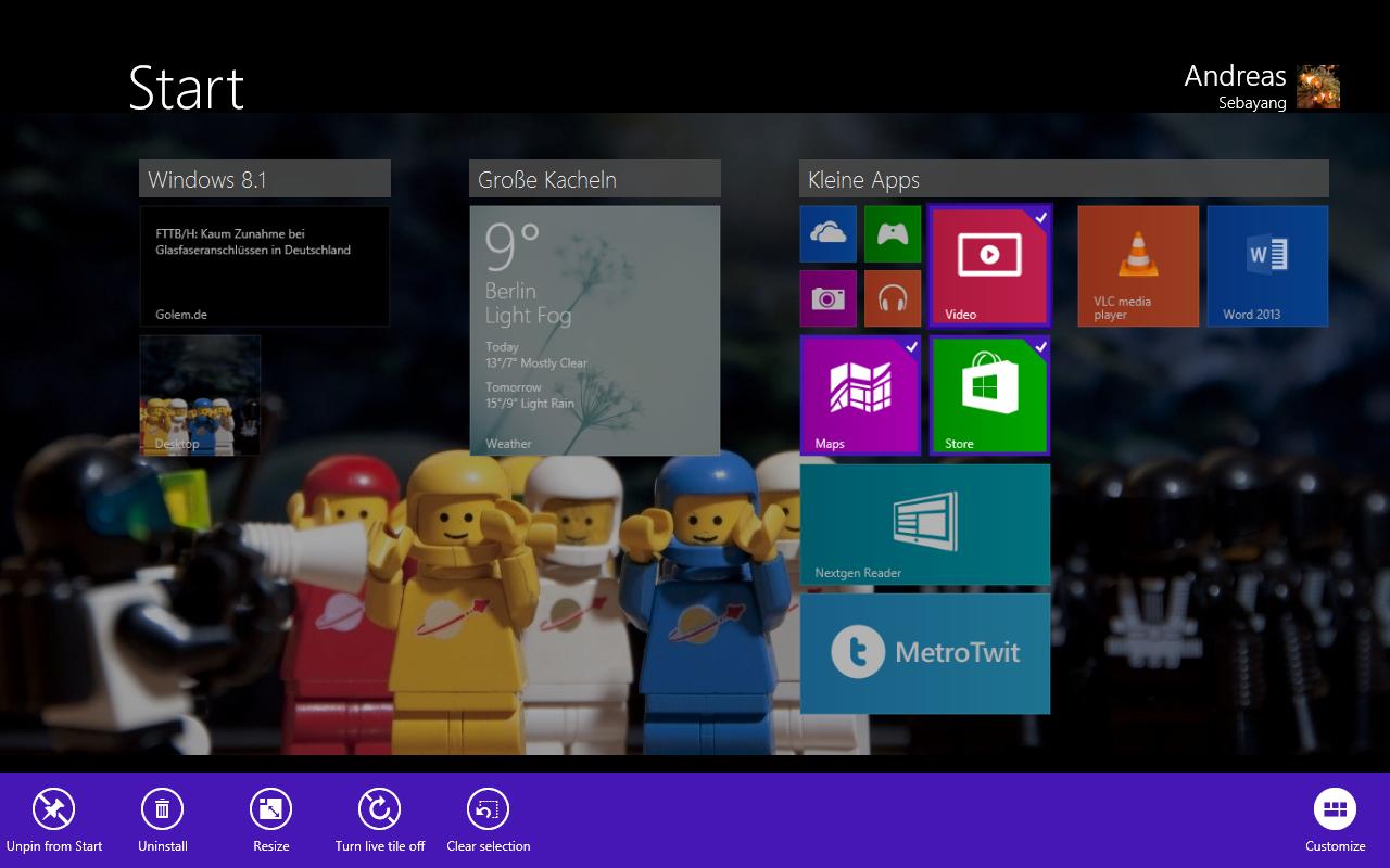 Windows 8.1 im Test: Nicht mehr die Suche suchen - Wir fragen uns, warum das nicht vorher ging: das Selektieren mehrerer Anwendungen, ... (Screenshot: Golem.de)